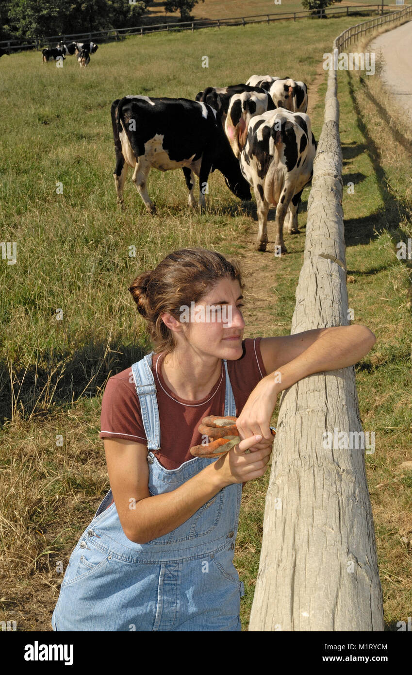 portrait of a farmer with her cows in the field - Stock Image