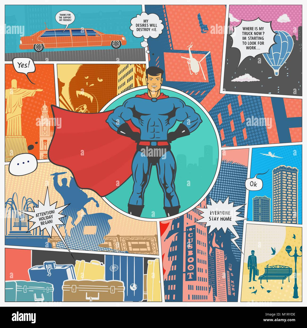 The Page Comics Layout Concept - Stock Vector
