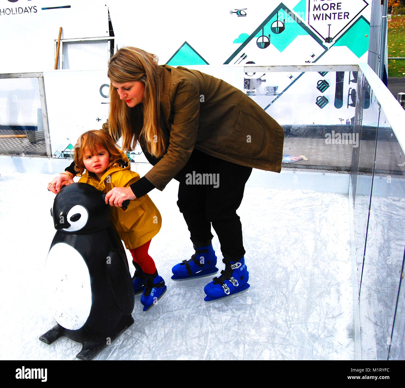 Learning to ice Skate - Stock Image