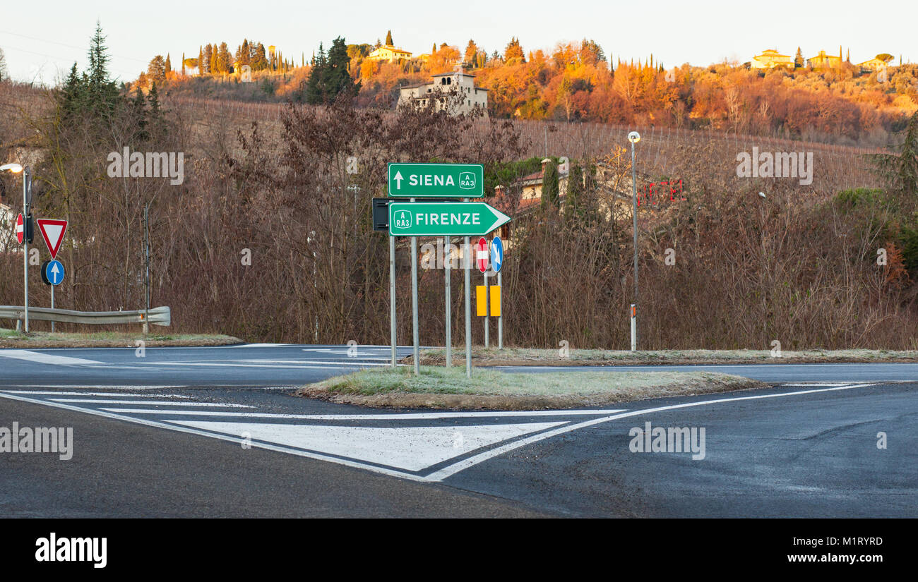 Siena and Florence road sign, non-paid highway connection road. - Stock Image