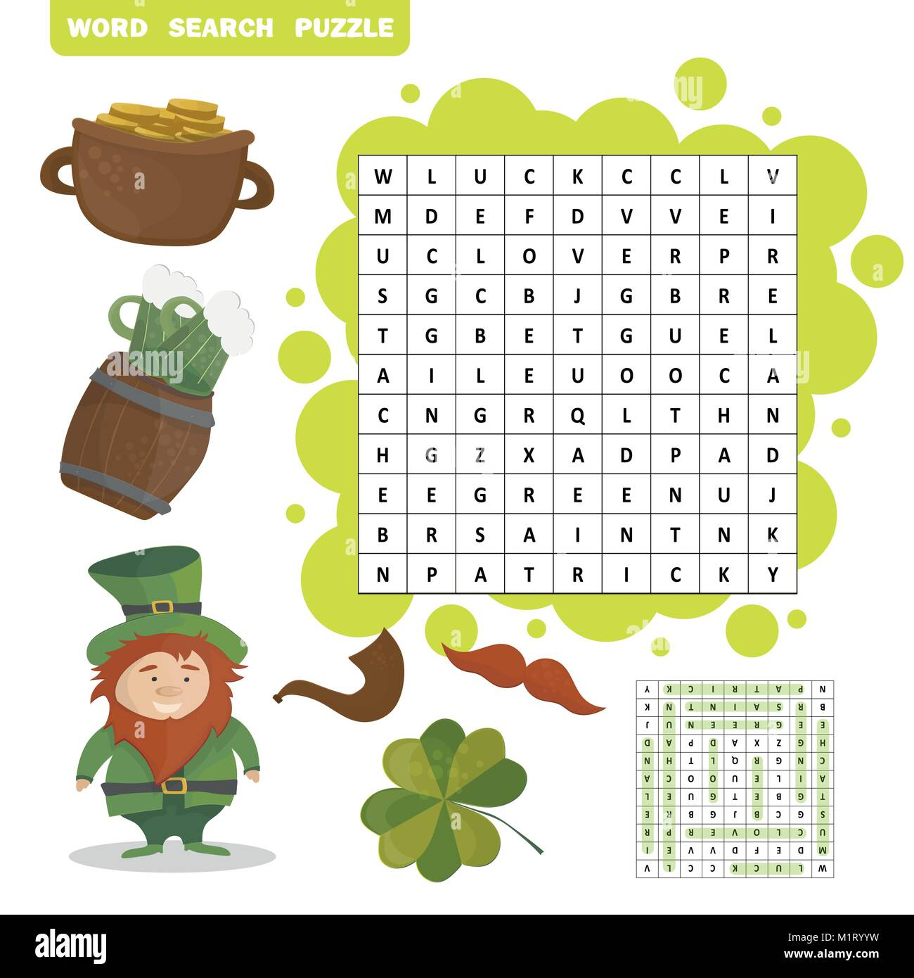 Patricks Day holiday themed word search puzzle - Answer included - Stock Vector