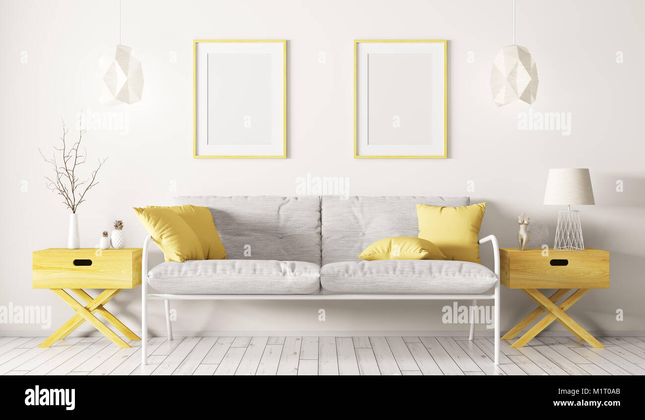 Interior of living room with white sofa, side tables,lamps and ...