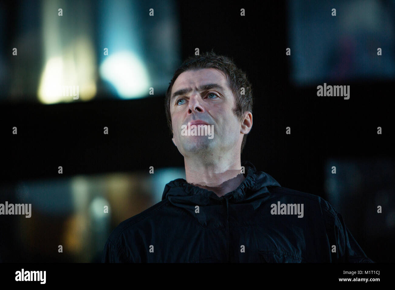 Norway, Bergen - June 14, 2017. The English singer, songwriter and musician Liam Gallagher performs a live concert - Stock Image