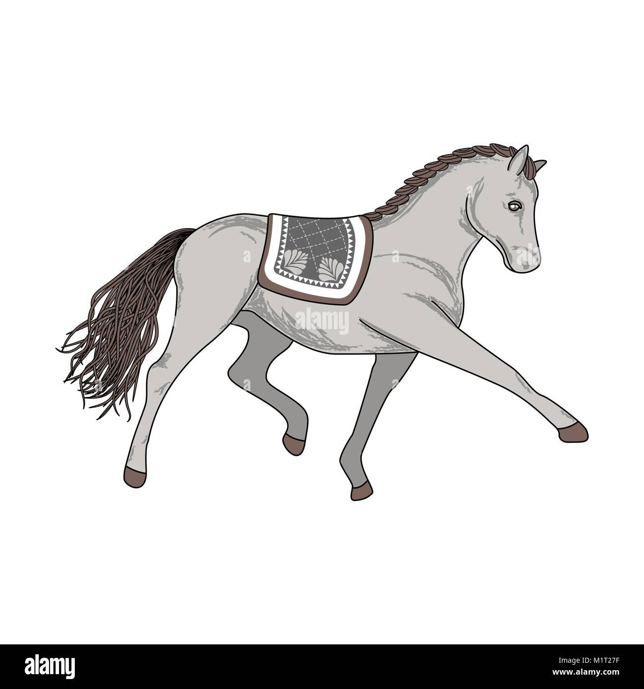 Dressage horse vector illustration. - Stock Image
