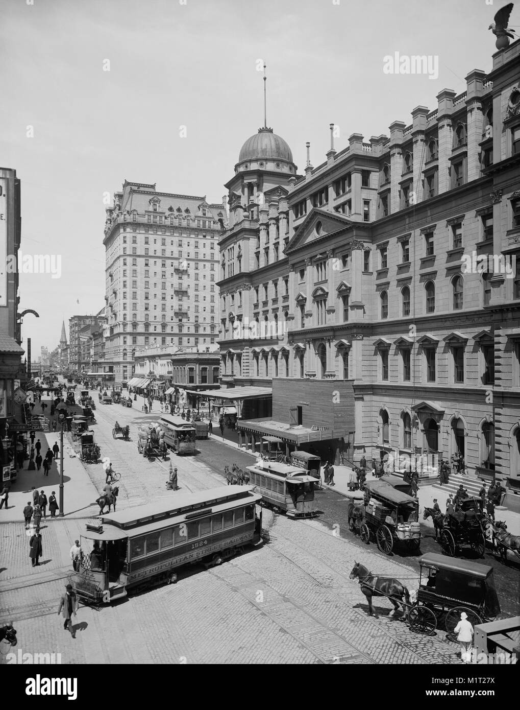 Grand Central Station and Hotel, Manhattan, 42nd Street, New York City, New York, USA, Detroit Publishing Company, - Stock Image