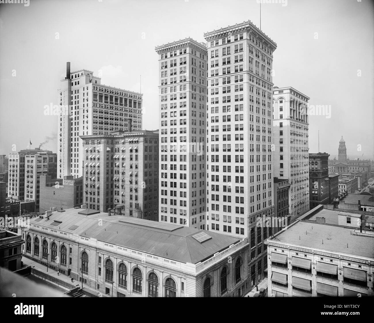 Dime, Penobscot, and Ford buildings, Detroit, Michigan, USA, Detroit Publishing Company, early 1910's - Stock Image