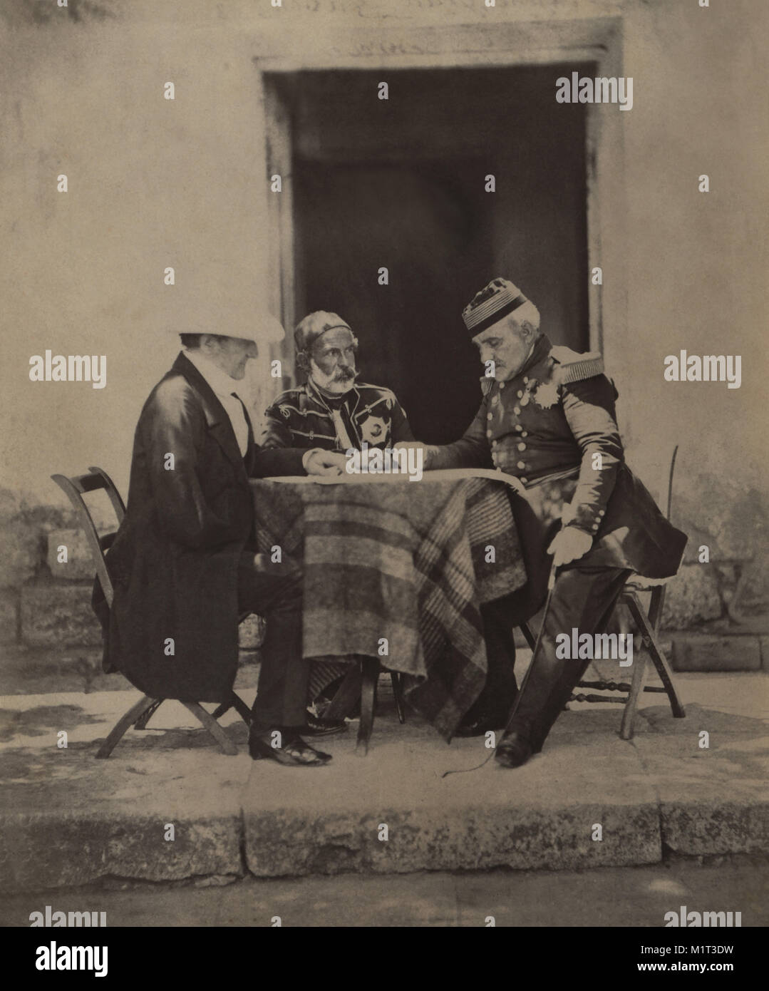FitzRoy James Henry Somerset, 1st Baron Raglan, Omar Pacha and Aimable-Jean-Jacques Pélissier, Council of War - Stock Image