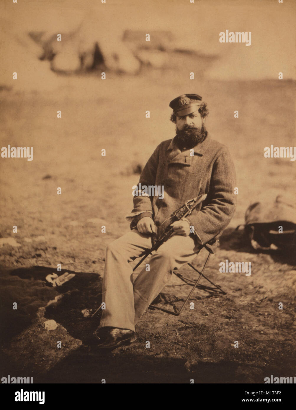 Benjamin William Marlow, British Military Doctor, Full-Length Portrait, Seated, Holding Sword, Crimean War, Crimea, Stock Photo