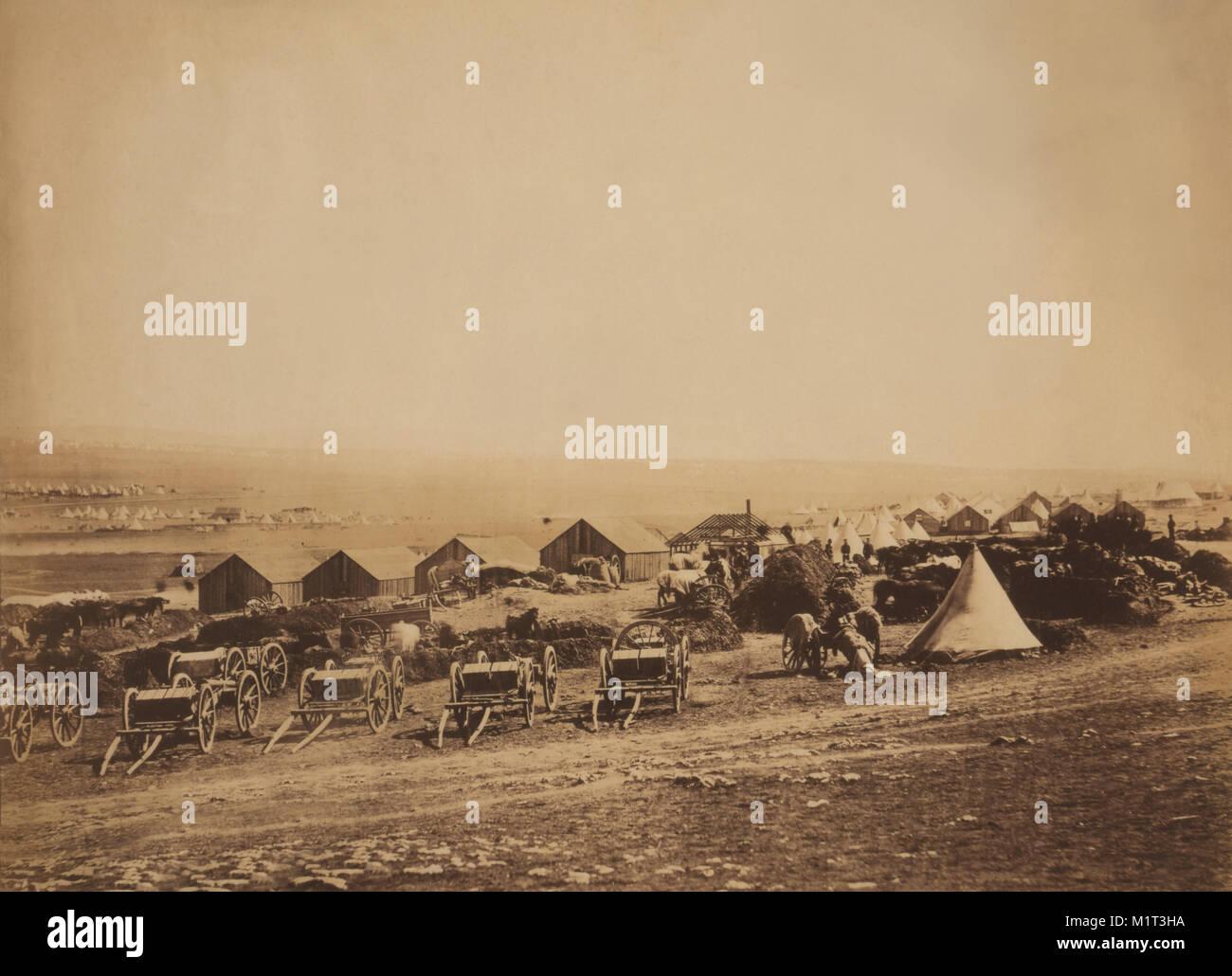 Artillery Wagons and Buildings at British Military Camp with View towards Balaklava, Crimean War, Crimea, Ukraine, - Stock Image