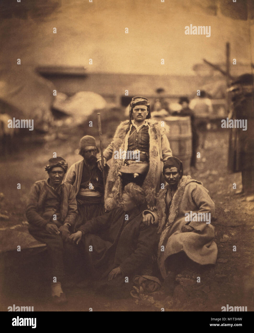 Group of Croat Laborers, Seated Portrait, Crimean War, Crimea, Ukraine, by Roger Fenton, 1855 - Stock Image