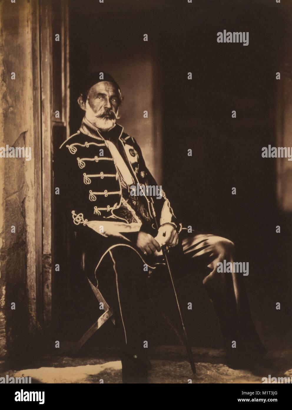 Ottoman Field Marshal Omar Pasha, Portrait Sitting in Doorway, Crimean War, Crimea, Ukraine, by Roger Fenton, 1855 - Stock Image