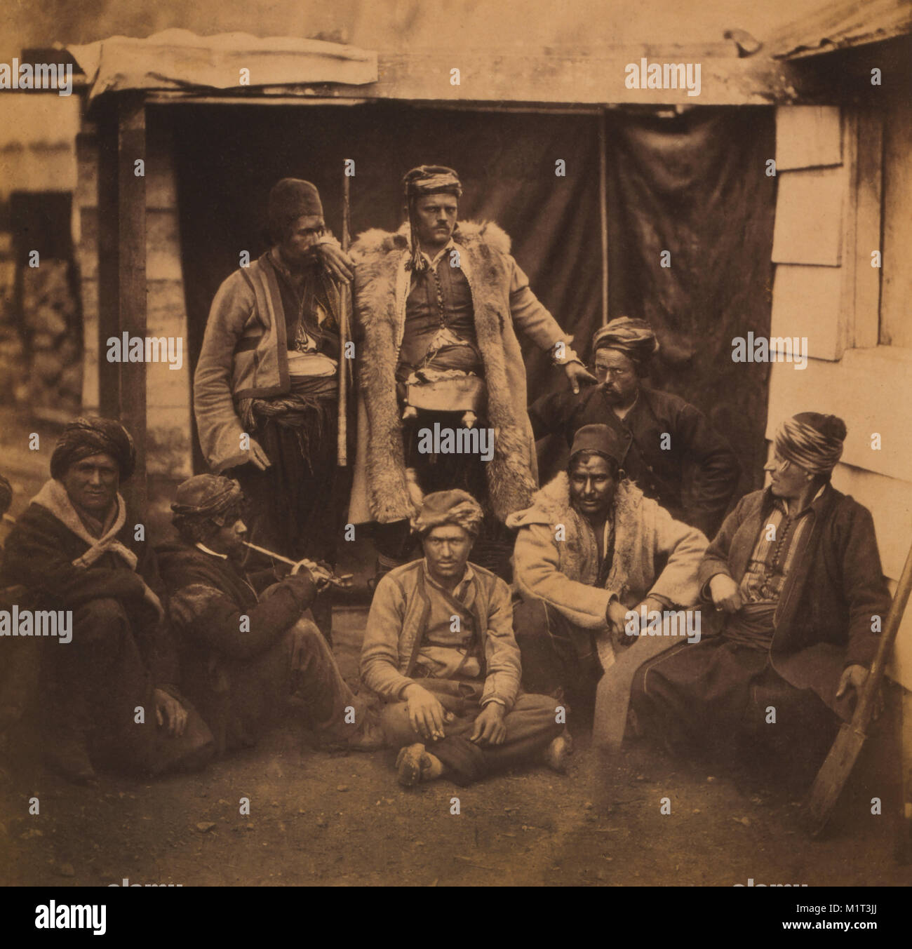 Group of Croat Laborers, Portrait, Crimean War, Crimea, Ukraine, by Roger Fenton, 1855 - Stock Image