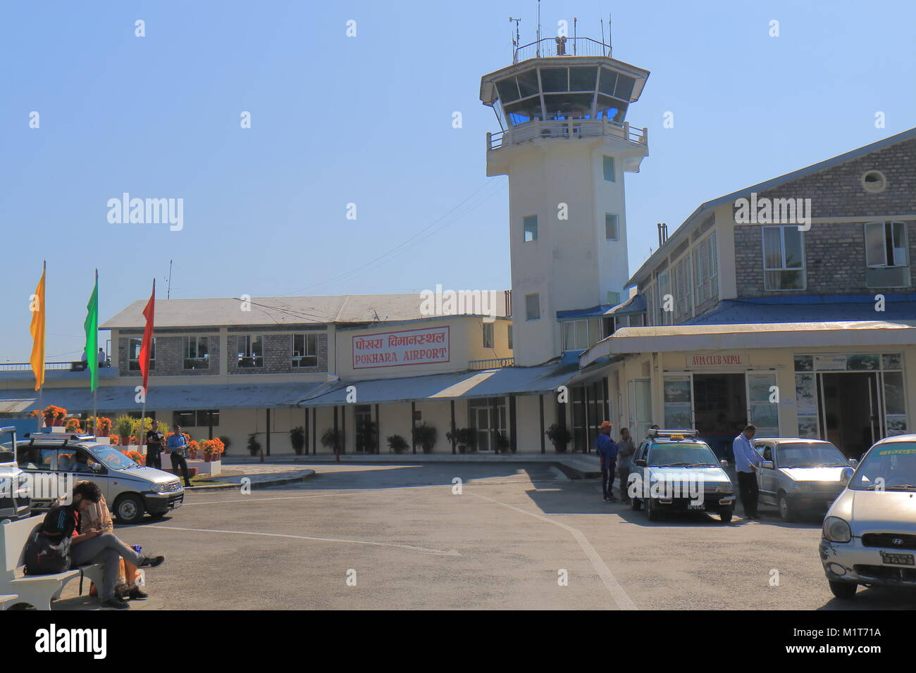 People travel at Pokhara airport in Pokhara Nepal. - Stock Image