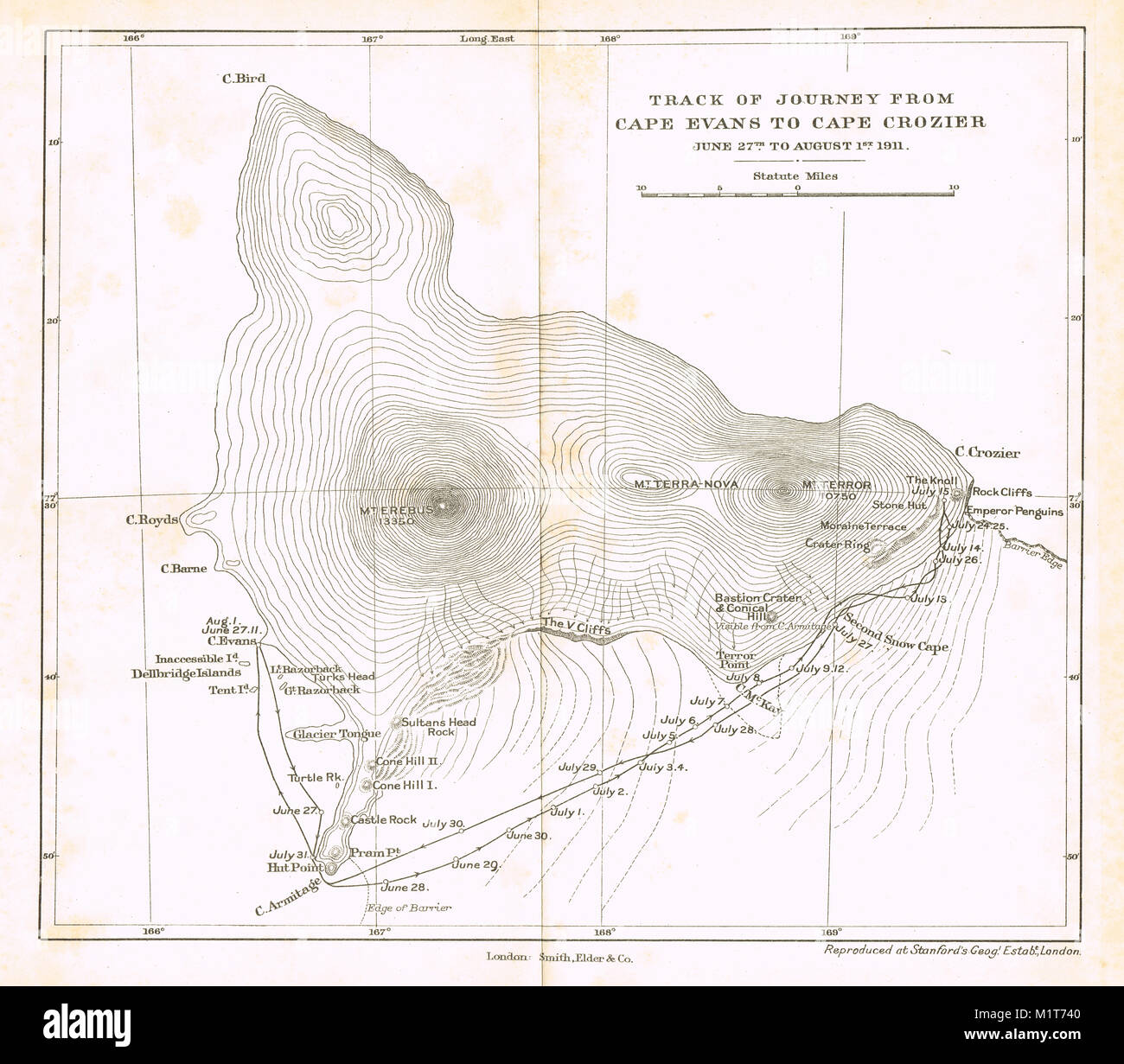Track of journey from Cape Evans to Cape Crozier, Austral Winter 1911, Scott's final expedition - Stock Image