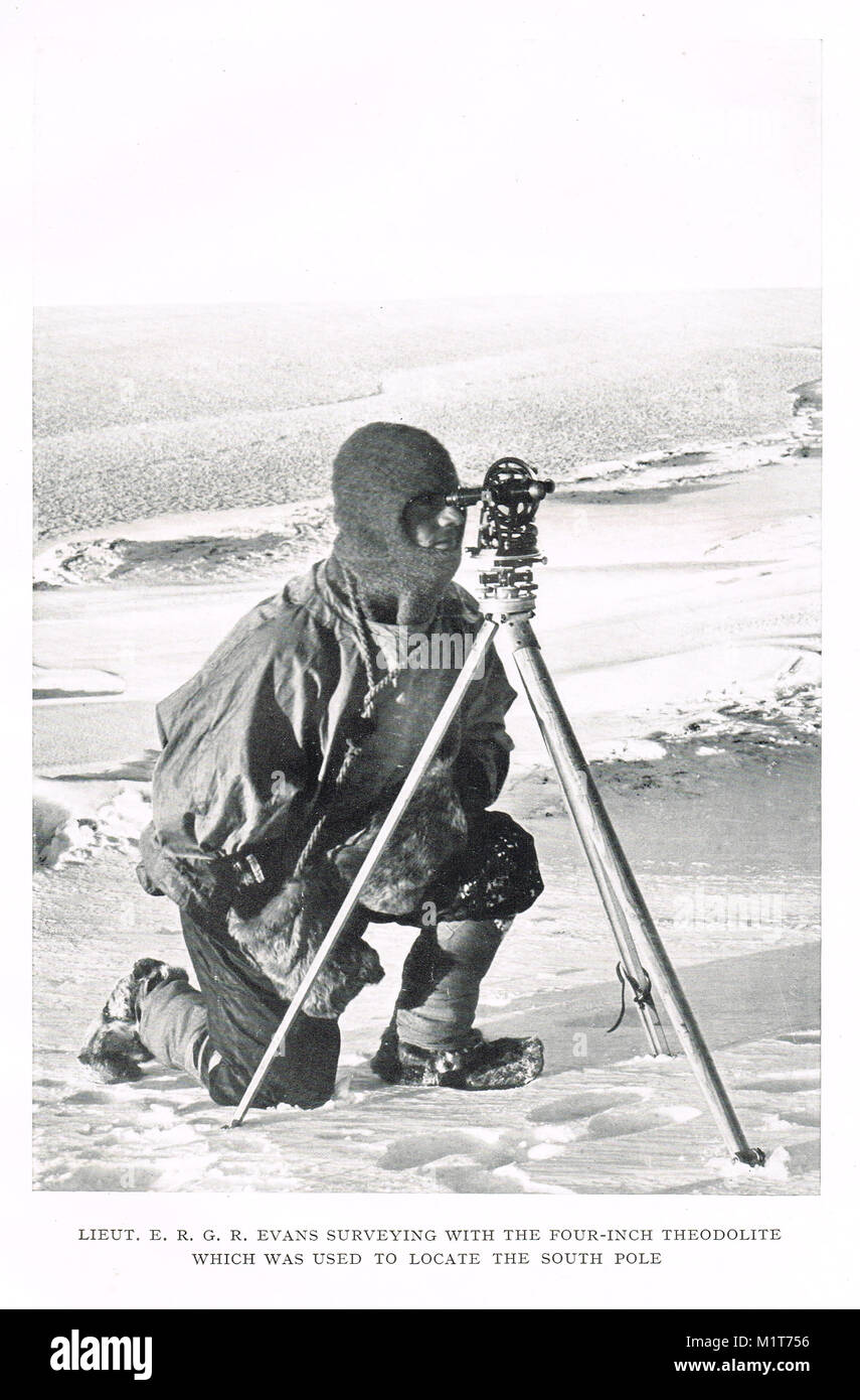 Edward Ratcliffe Garth Russell Evans surveying with the four inch Theodolite used to locate the South Pole.  last Stock Photo