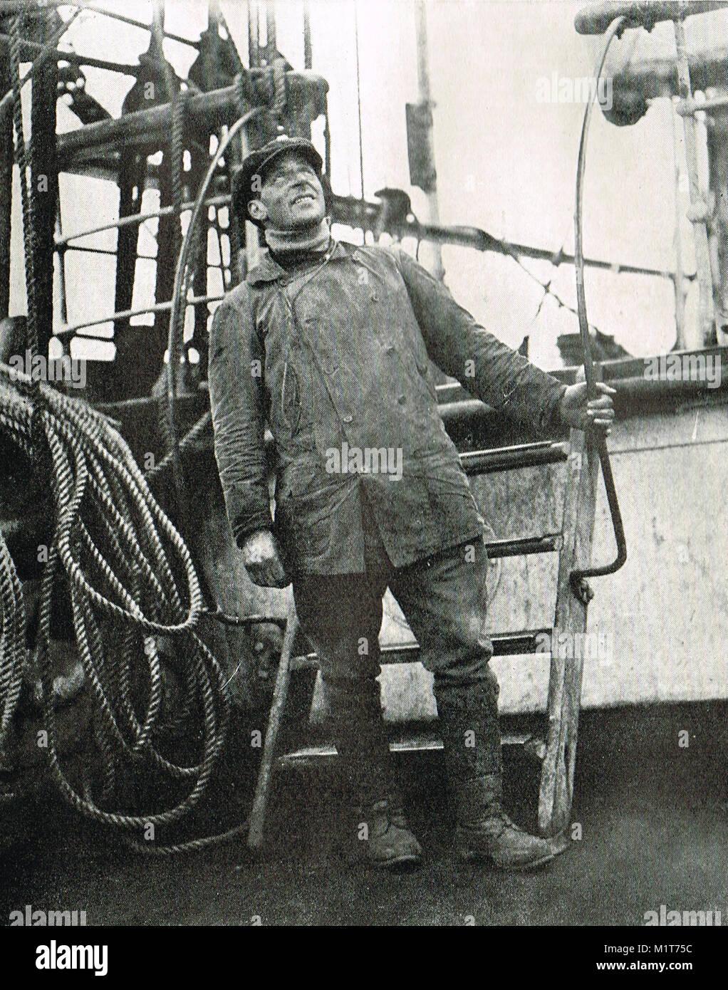 Wilfrid Bruce, on board HMS Terra Nova, 1911.  Captain Scott's final expedition - Stock Image