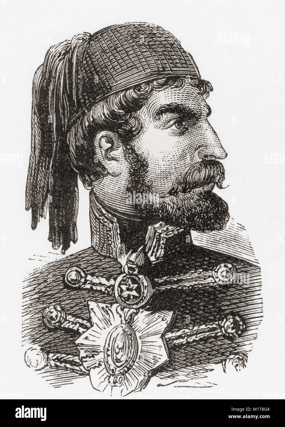 Omar Pasha Latas, 1806–1871.  Ottoman field marshal and governor.  From Ward and Lock's Illustrated History - Stock Image
