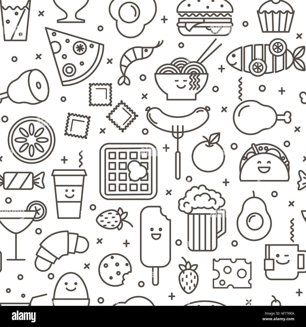 Vector seamless pattern with outlined iconic illustration of restaurant and fast food like coffee, pizza, wafer, - Stock Vector