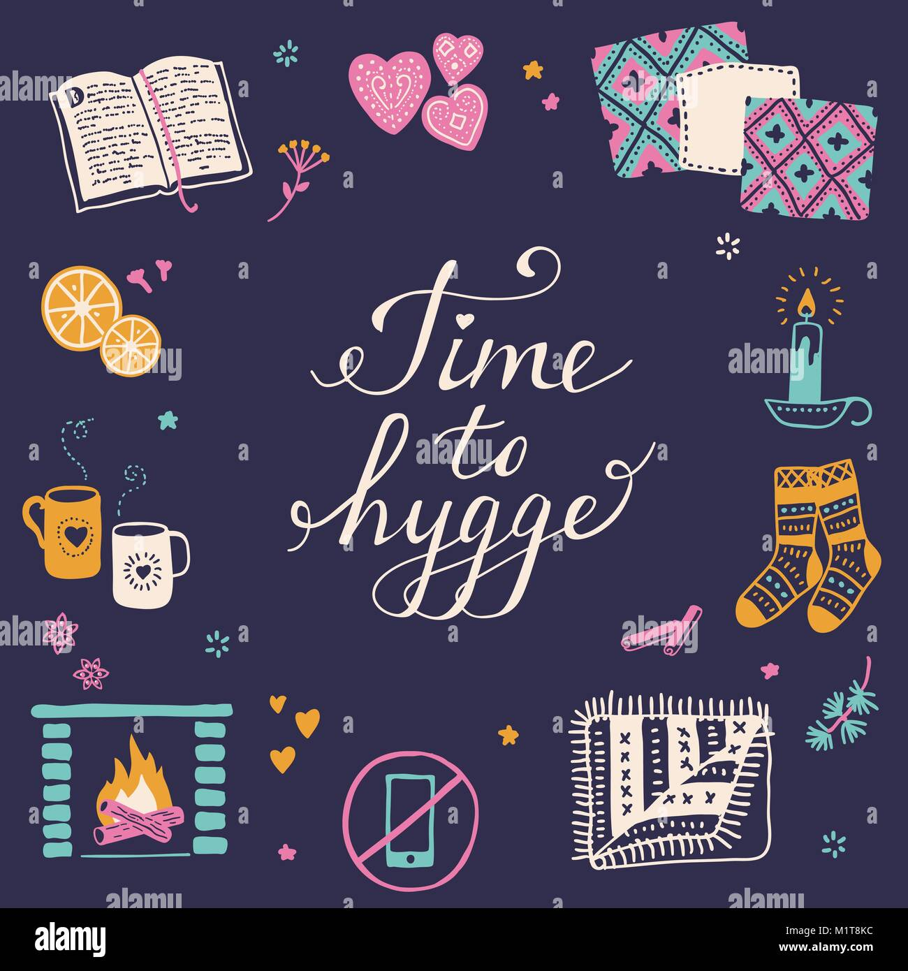 Vector illustration with Time to Hygge lettering and cozy home things like candles, socks, rug, tea, fireplace. - Stock Image