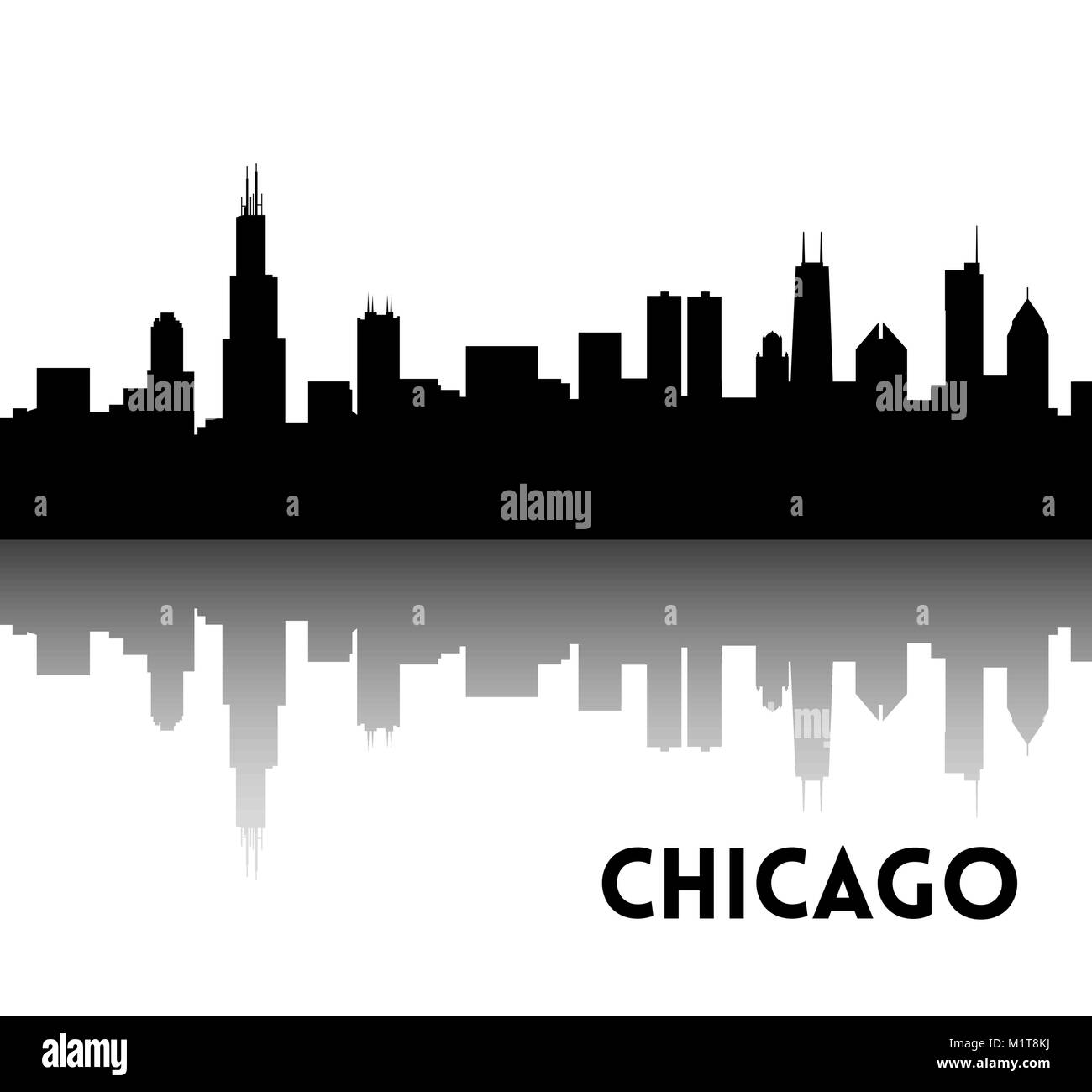 Vector black silhouette of Chicago skyline. Downtown with skyscrapers. Illinois, USA. You can use for banners and - Stock Vector