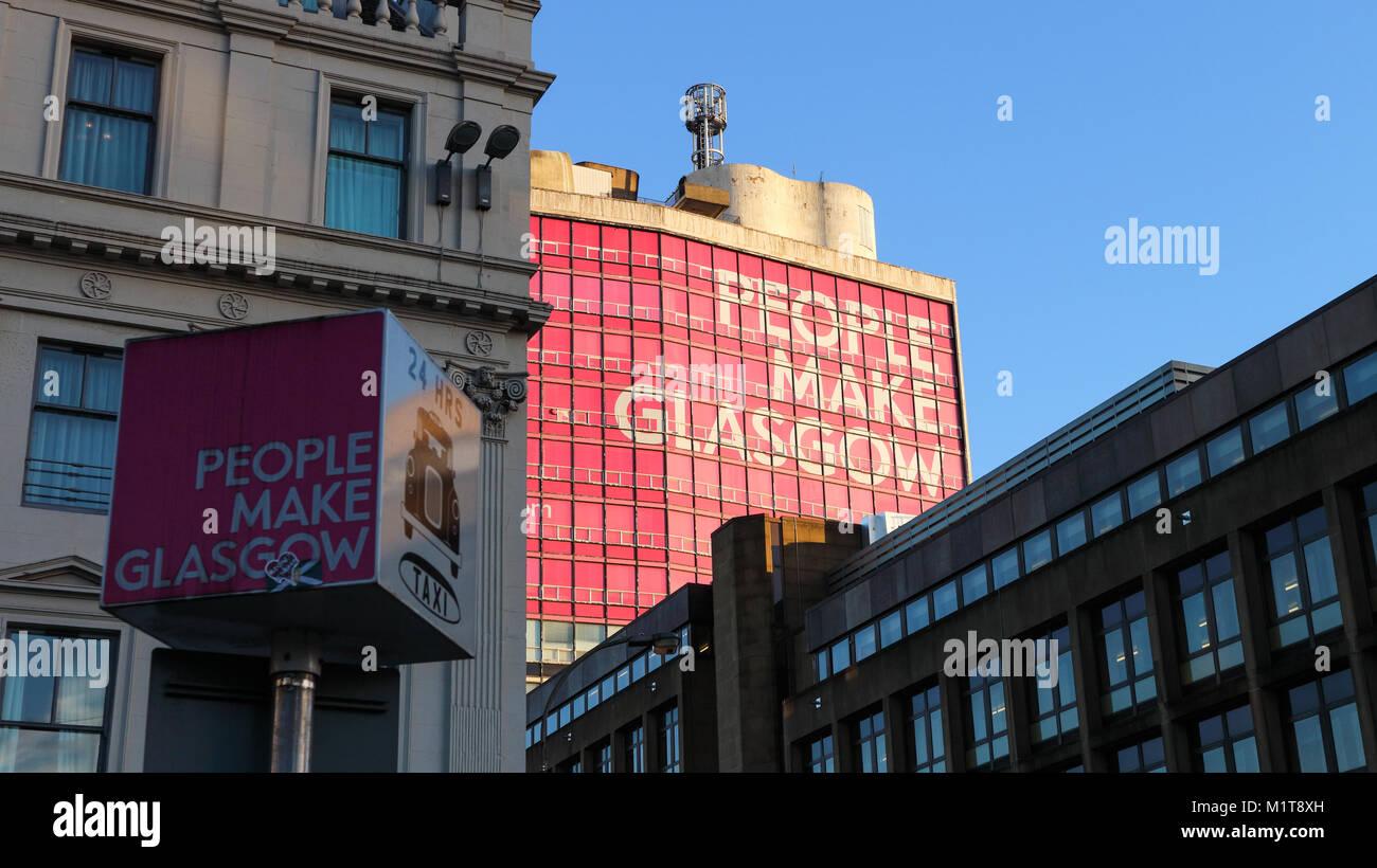 Glasgow, Scotland / United Kingdom - 01/02/2018 - A pole showing the slogan  'People Make Glasgow' with - Stock Image
