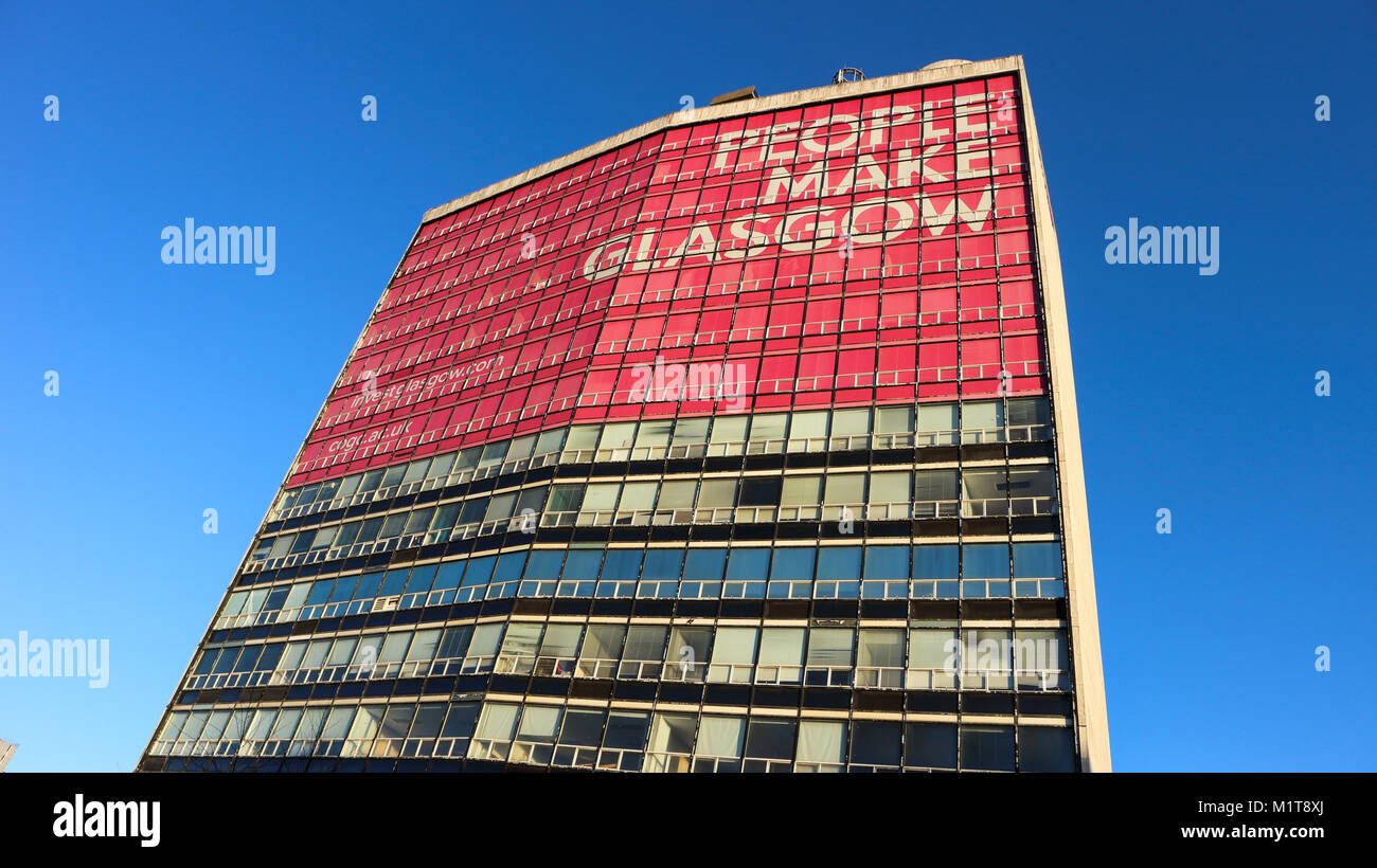 Glasgow, Scotland / United Kingdom - 01/02/2018 : a photograph of the former Glasgow College building with the slogan - Stock Image
