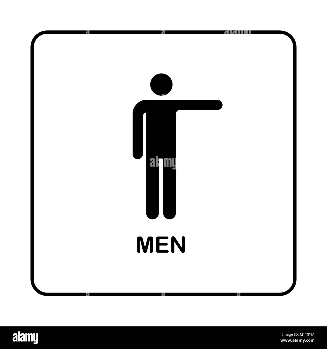WC Toilet Door Plate Icon Simple Bathroom