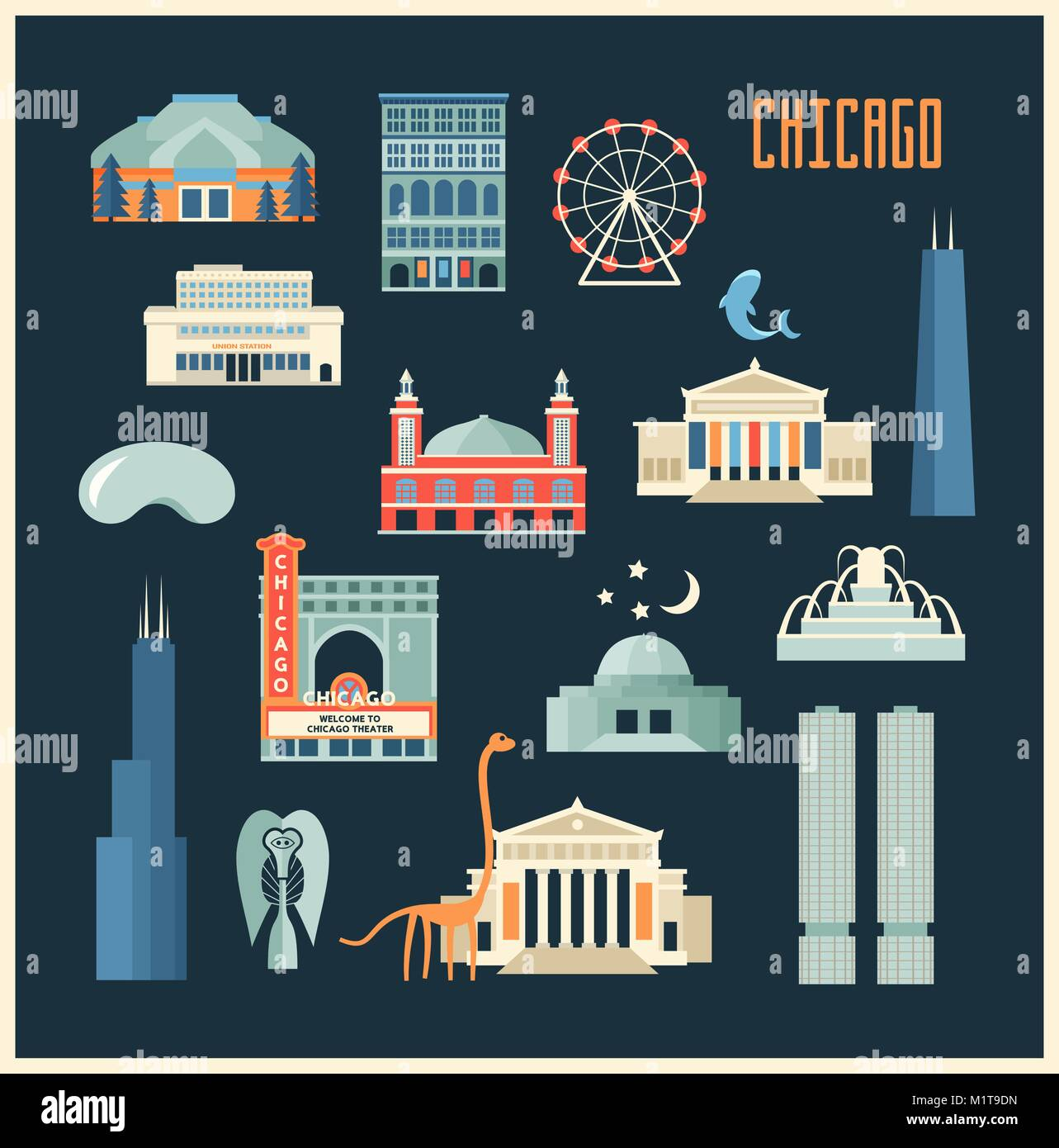 Vector set of Chicago' famous landmarks. Flat style designed historic buildings, sightseeing and known museums - Stock Vector