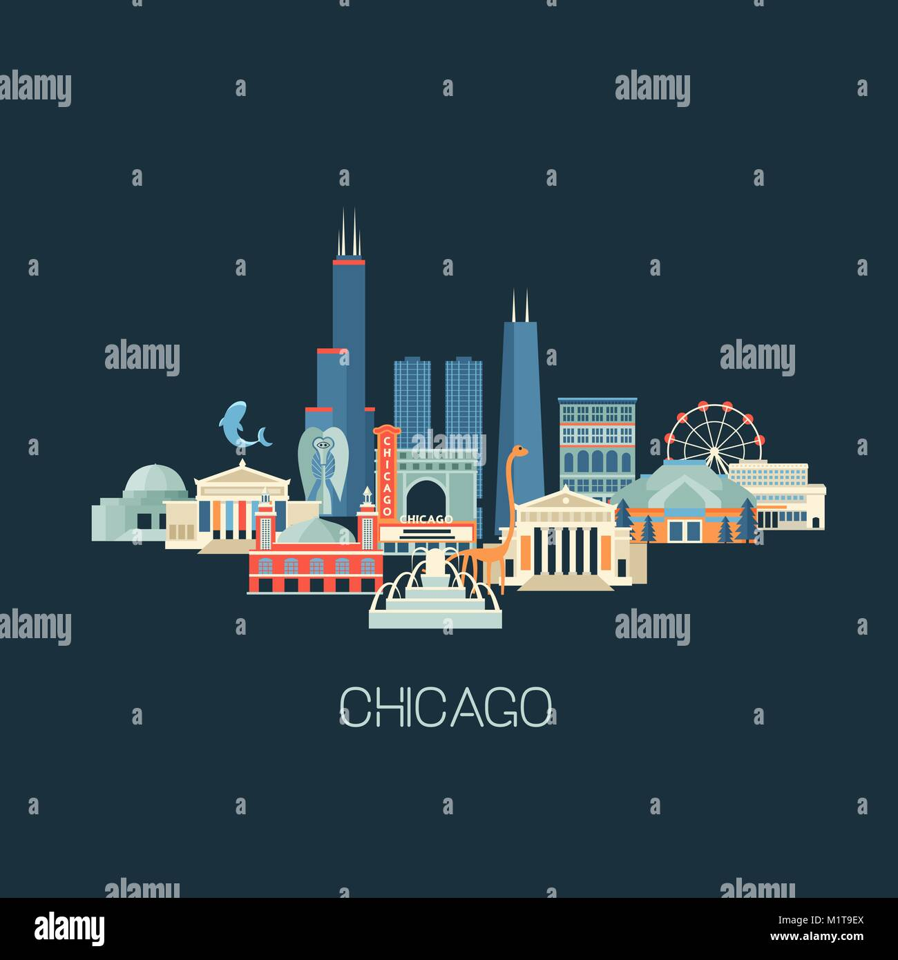 Chicago, skyline, landmark, cityscape, famous, sights, sightseeing, building, city, Michigan, travel, USA, known, - Stock Vector