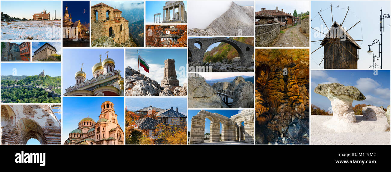 Collage Of Bulgarian Landmarks And Popular Travel Destinations Aspect Ratio For Social Network Cover Photo