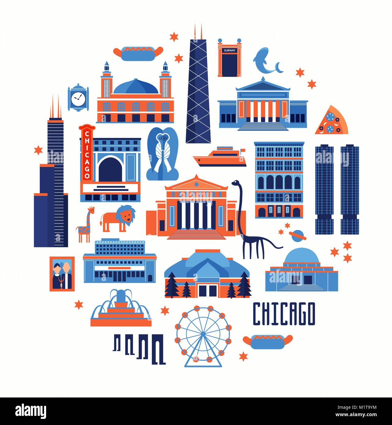 Blue and red vector set of Chicago' famous landmarks. Flat style designed historic buildings, sightseeing and - Stock Vector