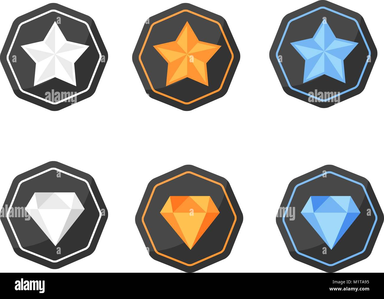Vector Set Of Icons With Awards Symbols Of Stars And Diamonds In