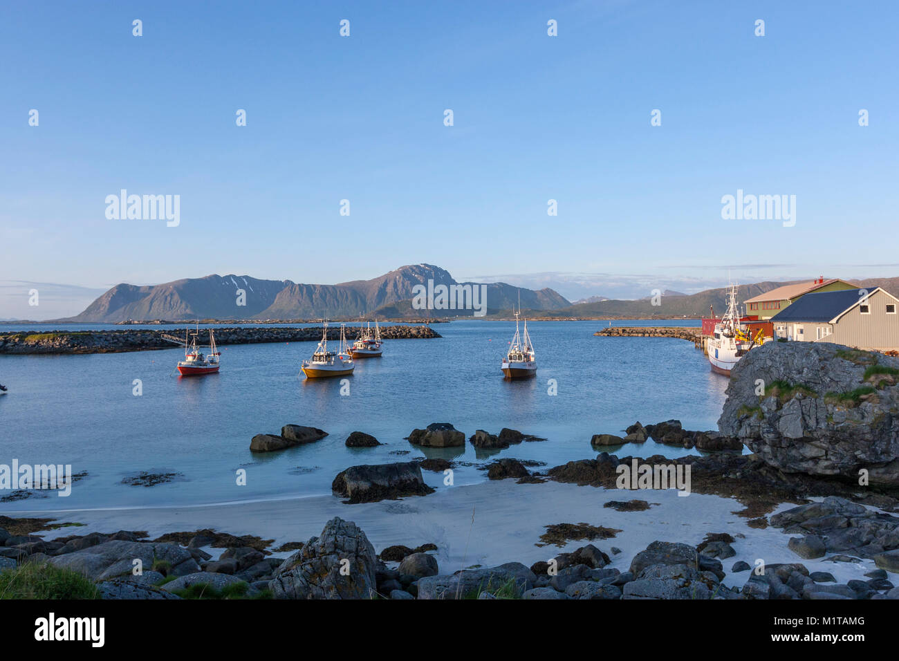 Fishing village of Eggum, Vestvågøy island, Lofoten archipelago , Norway - Stock Image