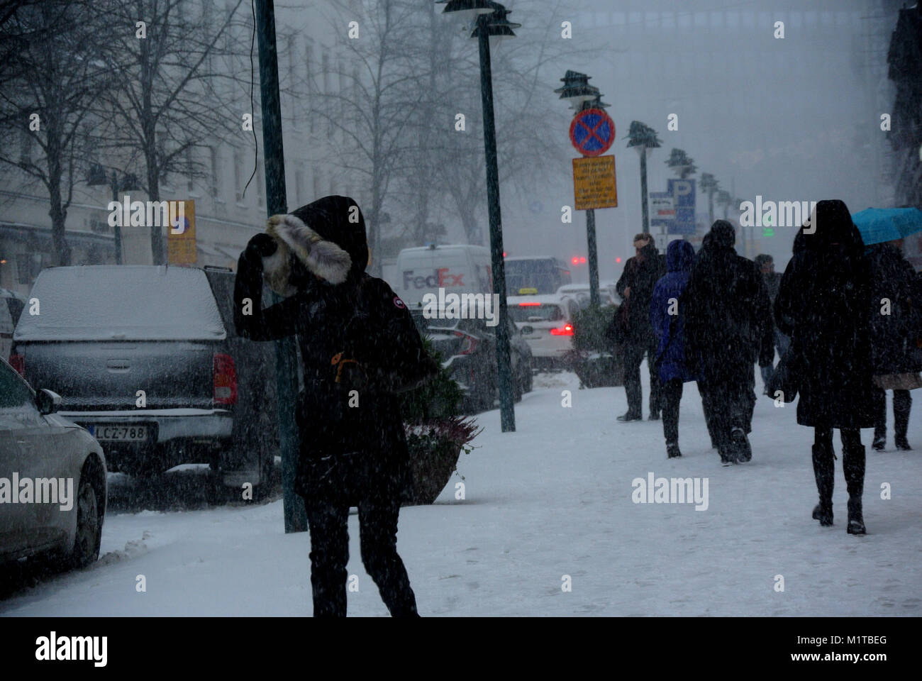 Heavy Snowfall Hits Helsinki - Stock Image