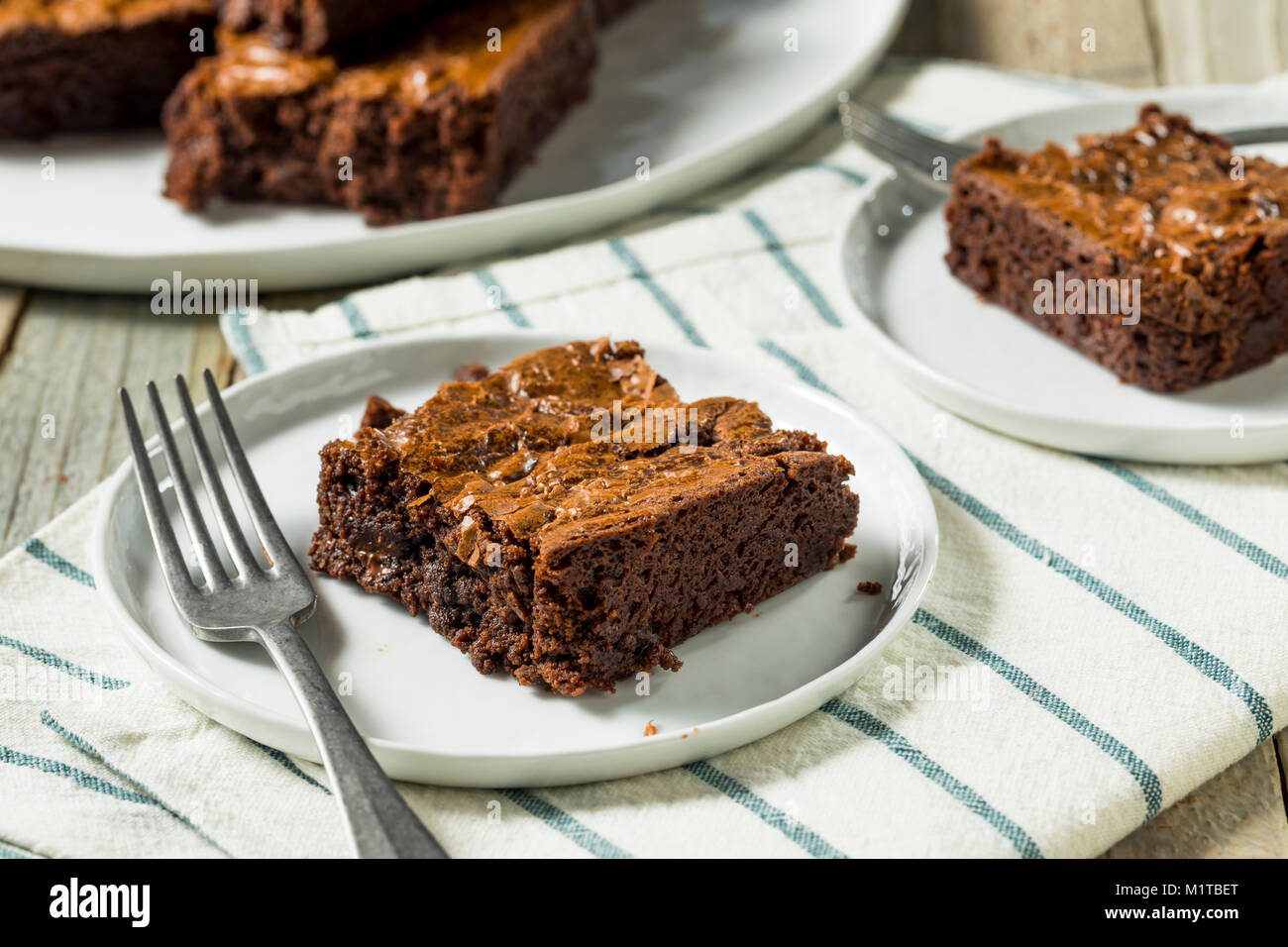 Double Dark Chocolate Brownies Ready to Eat - Stock Image
