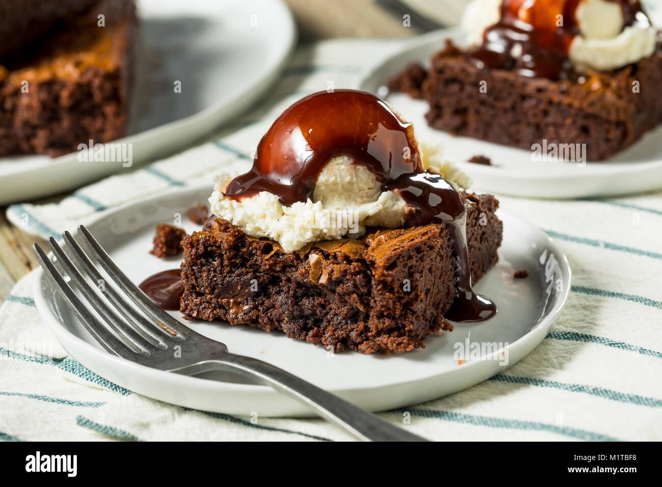 Double Dark Chocolate Brownies with Ice Cream - Stock Image