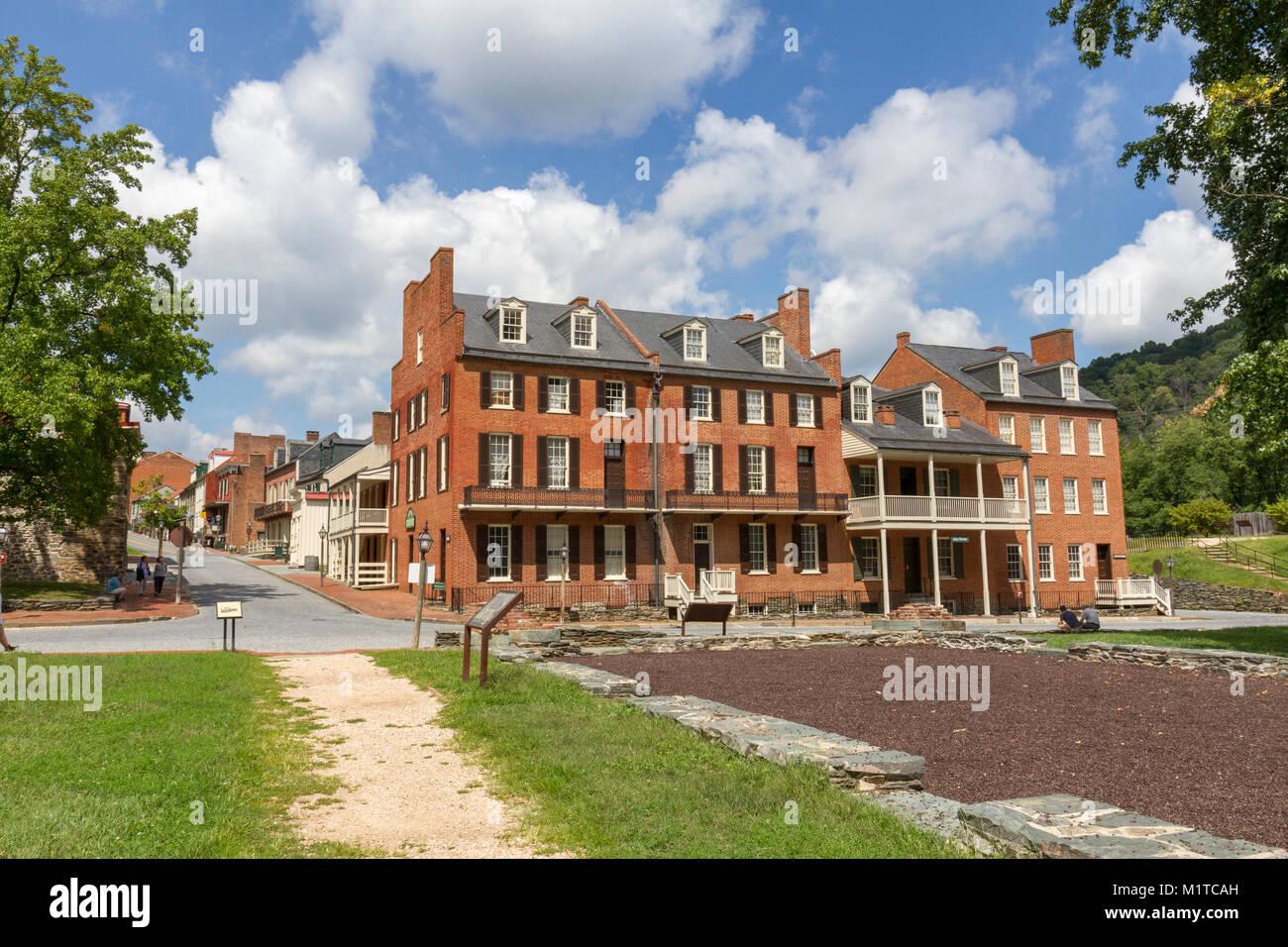 Stephenson's Hotel on the corner of Shenandoah St/High St in Harper's Ferry National Historic Park, Jefferson - Stock Image
