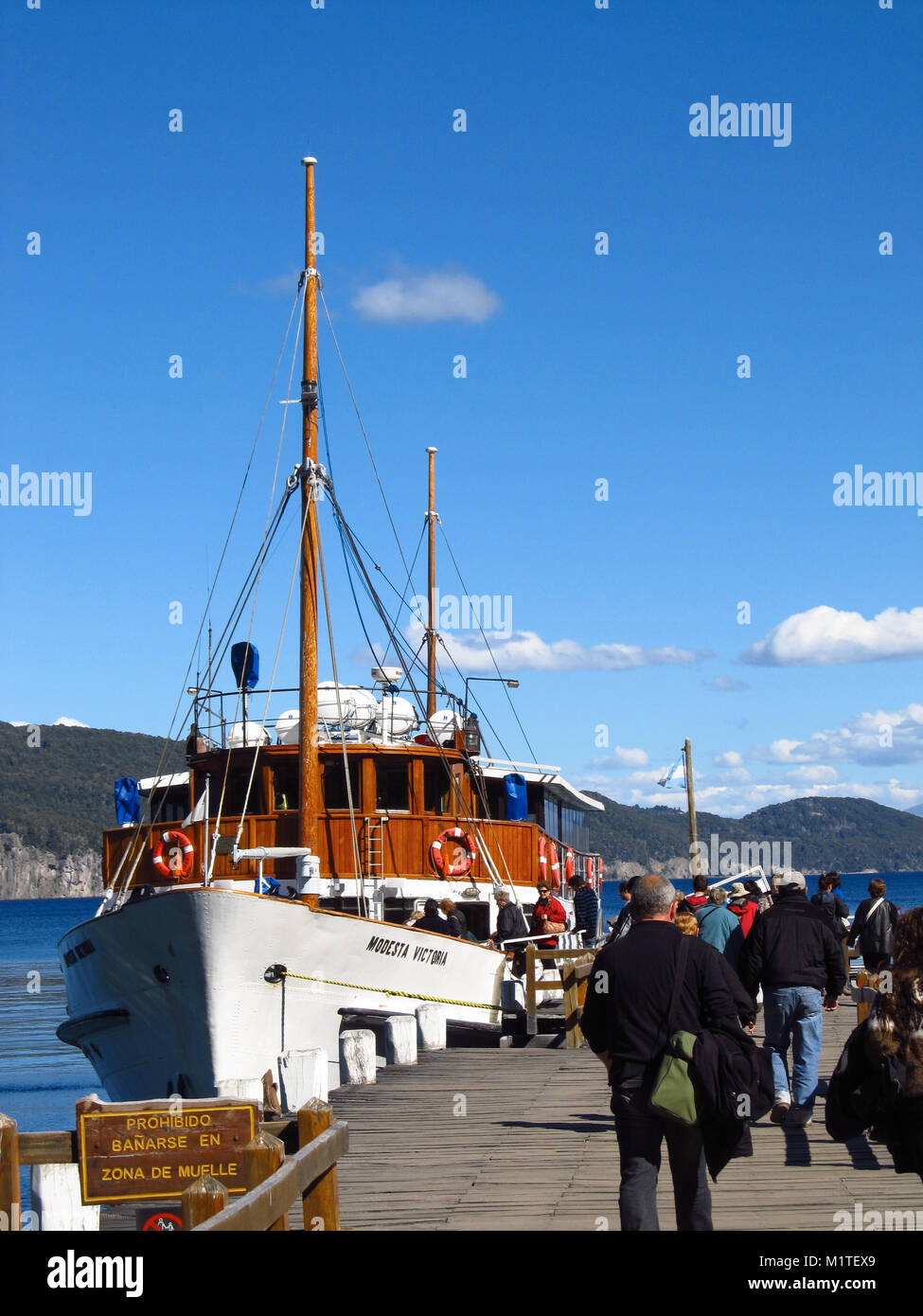 LOS ARRAYANES NATIONAL PARK, NEUQUEN, ARGENTINA - NOVEMBER 24, 2012: The Modesta Victoria ready to leave Los Arrayanes - Stock Image