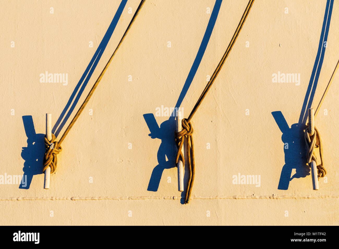 Rigging detail on passenger ship Ocean Adventurer carries alpine mountaineering skiers to Antarctica - Stock Image