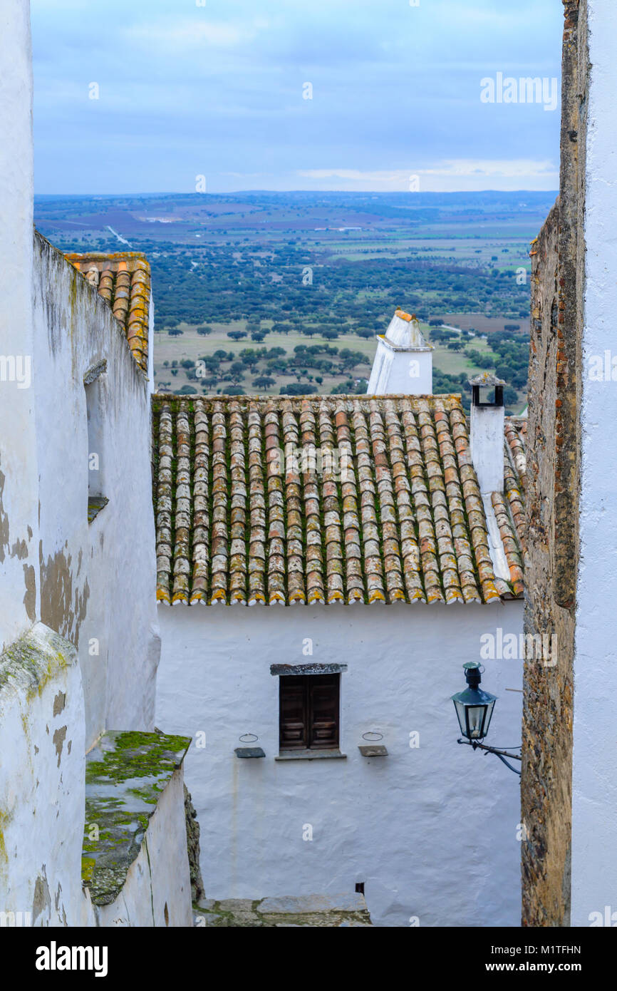 View of typical old buildings in Monsaraz, Portugal - Stock Image