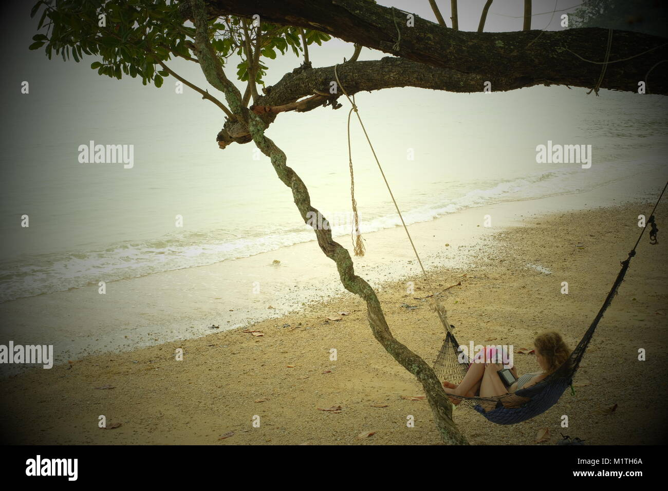 A young lady reading in a hammock in koh Yao Noi, a Thai island in the Andaman Sea. 20-Jan-2018 - Stock Image