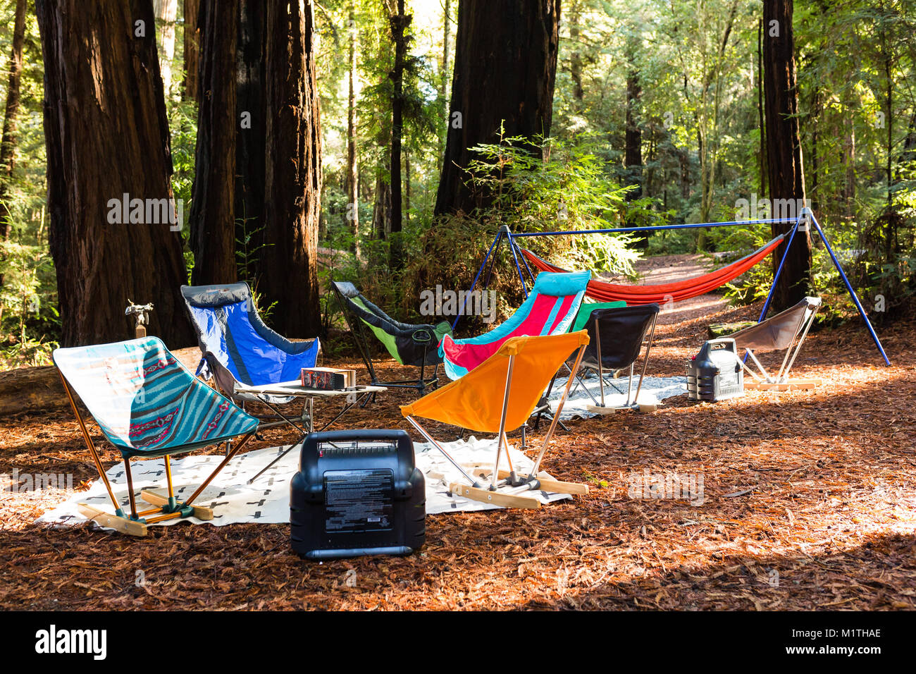 Folding Camping Chairs And Hammocks Decorate A Campsite In A