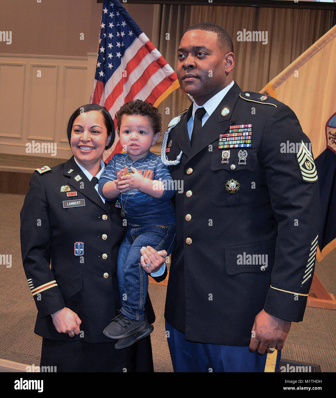 the lambert familly -- lt. col. ebony, 2-year-old majour and command