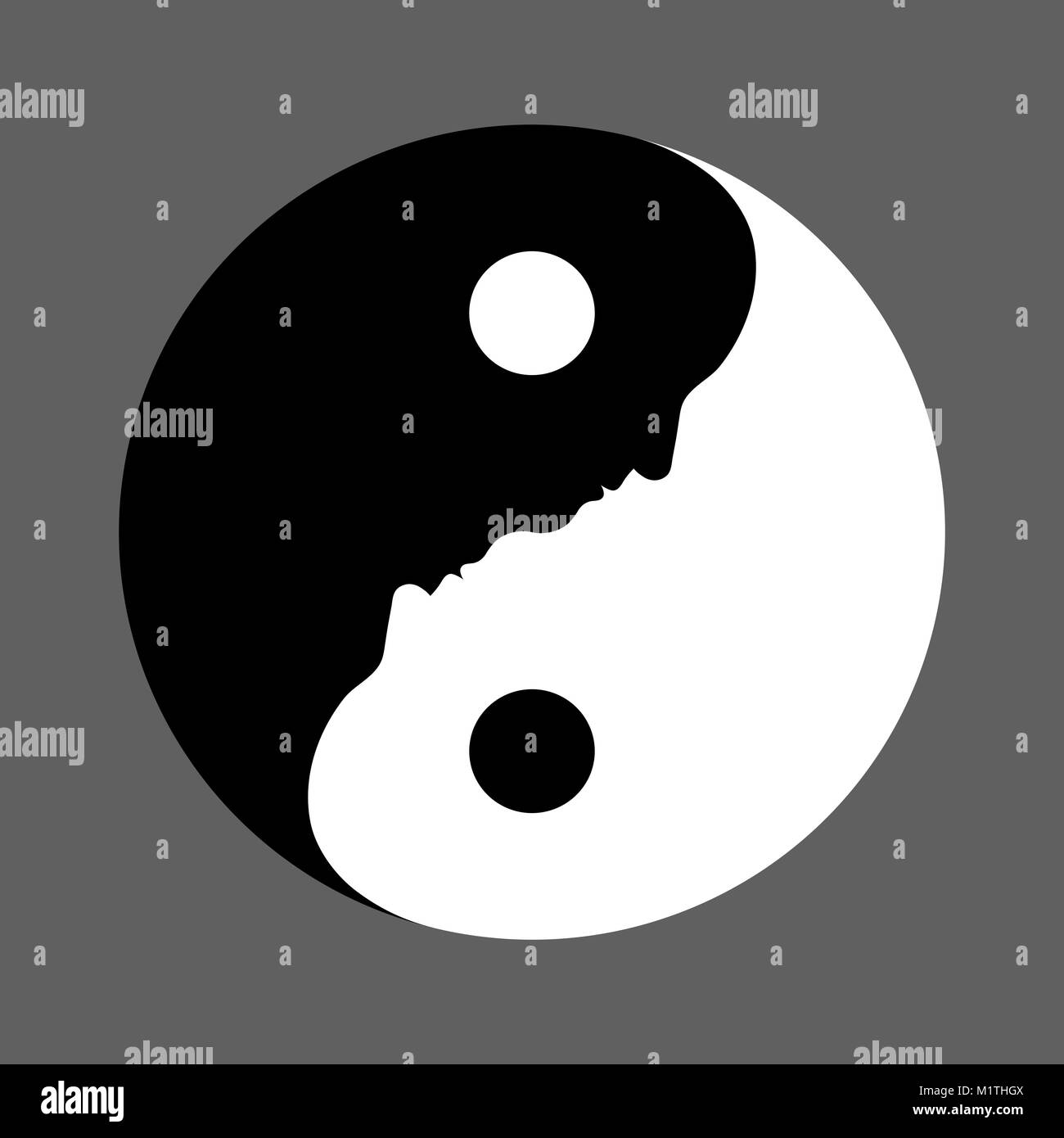 Black And White Yin Yang Symbol With Faces Depicting The Balance