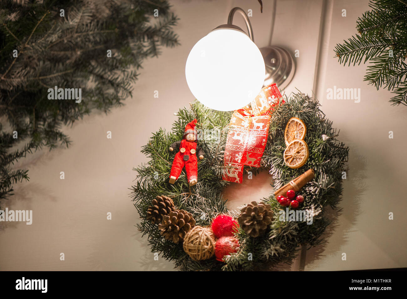 Hanging Christmas Decorations Outside.Beautiful Christmas Decorations Hanging On Doors Outside The