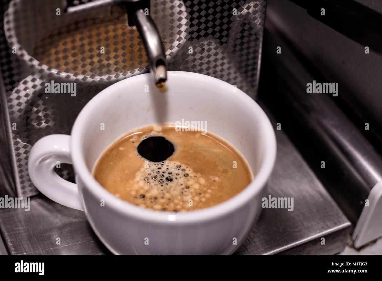 Italian espresso made with espresso machine - Stock Image