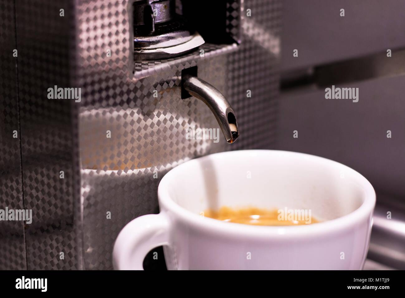 Homemade fresh espresso in white coffee cup - Stock Image