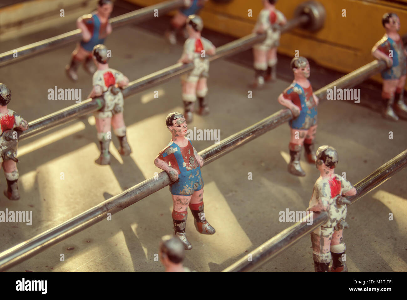 Foosball, old used table football, vintage style Stock Photo