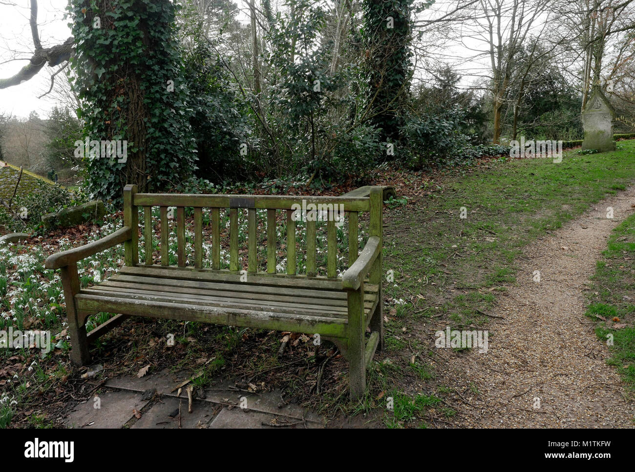 Bench in graveyard behind St Michael and All Angels parish church, Lyndhurst, New Forest, Hampshire, England, UK - Stock Image