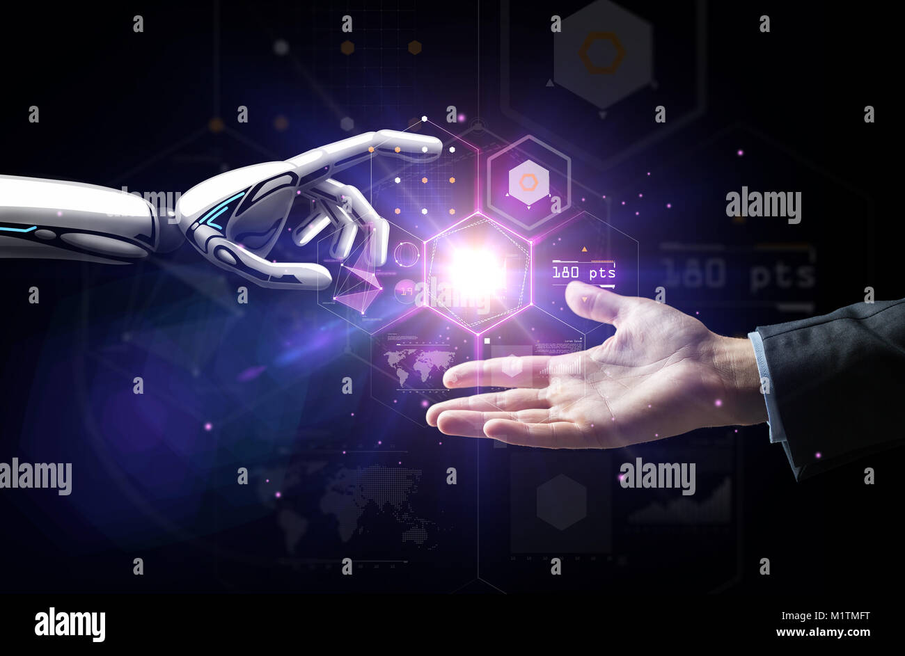 robot and human hand over virtual projection Stock Photo